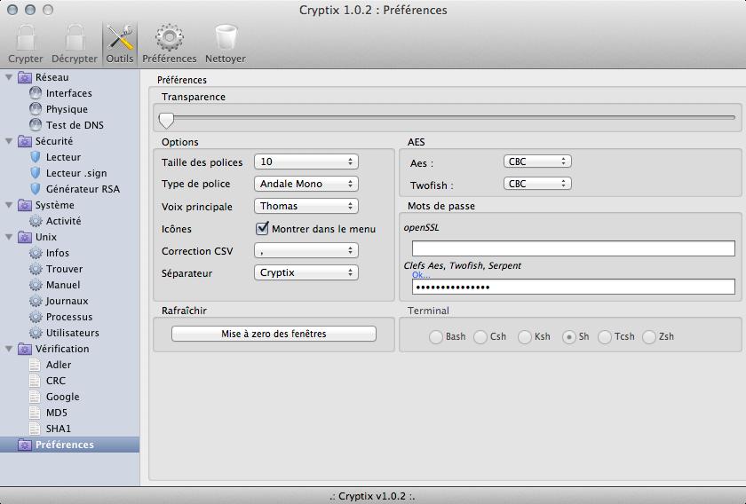 Cryptix 1.0.2 preferences