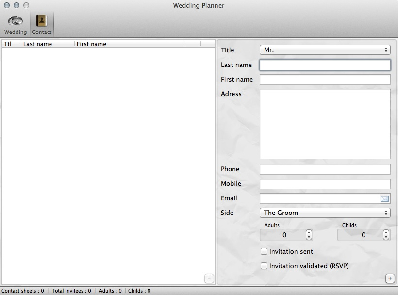 Wedding Planner contact list